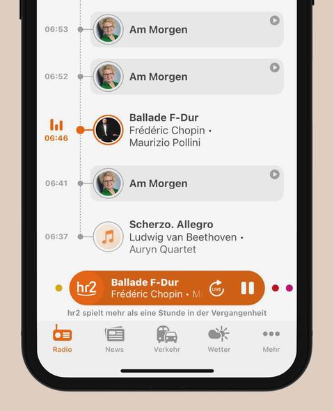 Timeline in der hr2-App