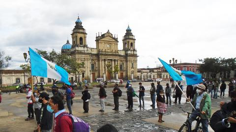 Demonstraten in Guatemala-Stadt