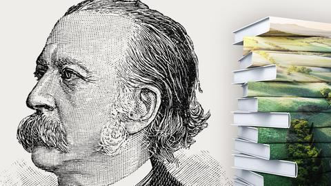 Portrait Fontane mit Buchstapel