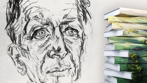 Gerhart Hauptmann Portrait mit Buchstapel
