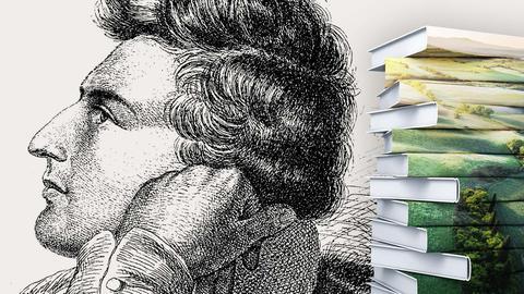 Heinrich Heine Portrait mit Buchstapel