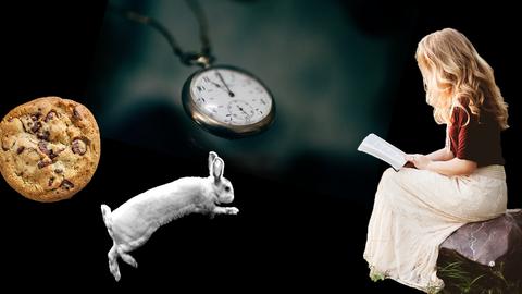 hr2-Sommerrätsel 2019: Lesendes Mädchen, weißes Kaninchen, Keks, Taschenuhr