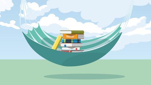 Grafik: Hängematte gefüllt mit Büchern