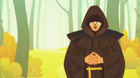 Grafik: Mensch im Mönchsgewand im Wald