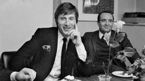 Sänger, Pianist und Komponist Udo Jürgens (links) aufgenommen am 14.Mai 1968 im Zürcher Pressefoyer in Zürich.