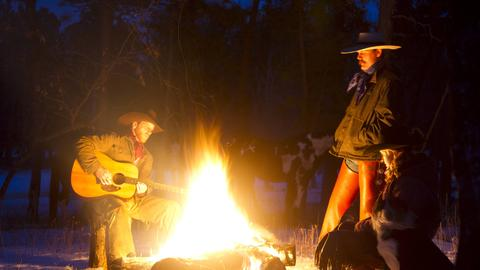 Cowboy Guitarre Gitarre Feuer