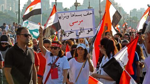 Demonstrierende auf dem Weg zum Tahrir Platz in Kairo im Juni 2013.