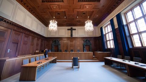 Innenansicht des Gerichtssaals 600 im Landgericht Nürnberg-Fürth. Hier fanden die Nürnberger Kriegsverbrecherprozesse statt.