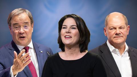 FOTOMONTAGE Die Kanzlerkandidaten zur Bundestagswahl 2021: v.li: Armin LASCHET (CDU), Annalena BAERBOCK, (Buendnis 90/die Gruenen), Olaf SCHOLZ (SPD).