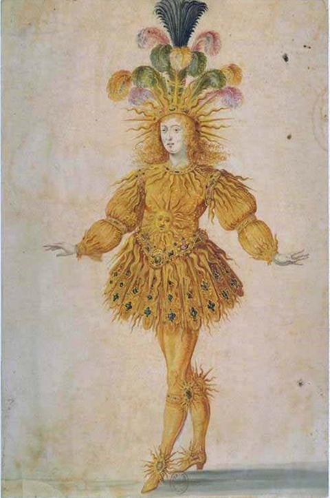 "Ludwig XIV. in der Hauptrolle des Apollo im ""Ballet royal de la nuit"" 1653"