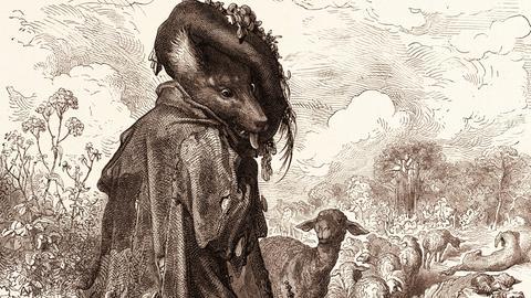 Der Wolf als Hirte: Illustration zu La Fontaines Fabeln von Gustave Doré