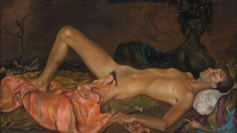 Leonor Fini, Erdgottheit, die den Schlaf eines Jünglings bewacht