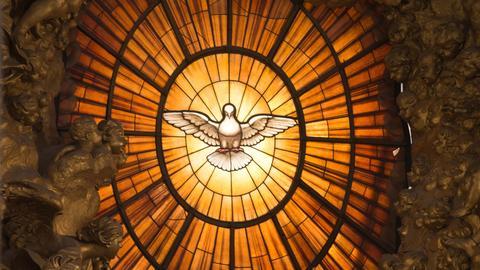Kirchenfenster mit einer Taube im Mittelpunkt