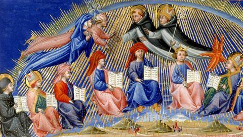 Beatrice und Dante werden von Thomas von Aquin und Albertus Magnus empfangen.