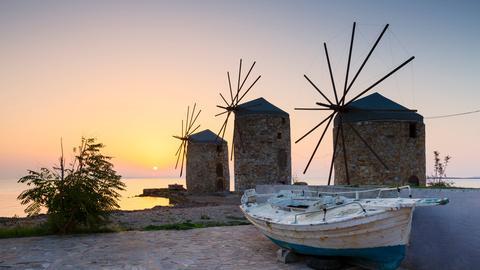Windmühlen auf der Insel Chios