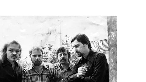 Die ausgewiesenen Bürgerrechtler Christian Kunert, Gerulf Pannach, Wolf Biermann und Jürgen Fuchs 1977 in West-Berlin.