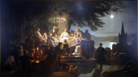"""""""Sommernacht am Rhein"""" von Christian Eduard Böttcher, 1862, Kölnisches Stadtmuseum"""