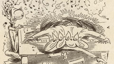 Finale furioso | Holzstich nach Zeichnung von Wilhelm Busch. Aus: Neues Wilhelm Busch Album Berlin-Grunewald (Hermann Klemm), o.J. (1927)