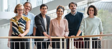 Finalisten des Buchpreises 2019: Raphaela Edelbauer, Norbert Scheuer, Tonio Schachinger, Jackie Thomae, Sasa Stanisic und Miku Sophie Kümel (v.l.n.r.)