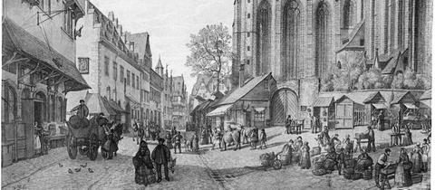 Frankfurter Dom und Fischmarkt (um 1860)