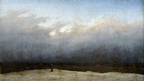 Gemälde zeigt einsamen Mensch vor Meereslandschaft