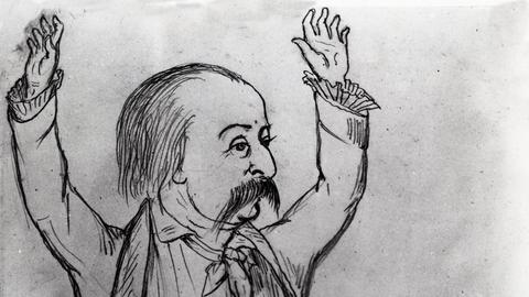 Gustave Flaubert, 1869, Zeichnung von George Sands Sohn Maurice