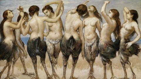 Hans Thoma: Acht tanzende Frauen in Vogelkörpern, 1886