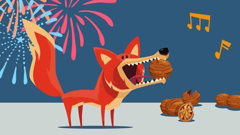 Comic-Fuchs, der Nüsse mit seinen Zähnen knackt