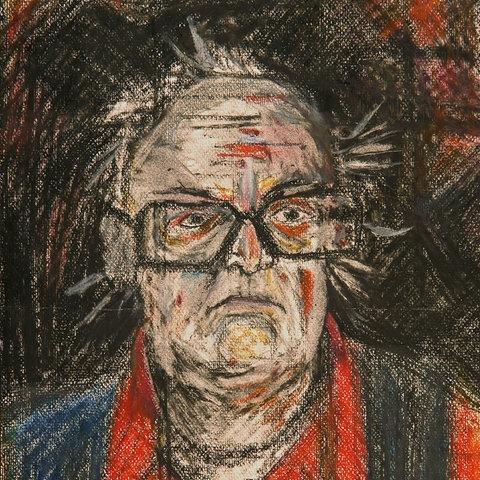 Selbstporträt des Schweizer Schriftstellers Friedrich Dürrenmatt aus der Sammlung Centre Dürrenmatt Neuchâtel.