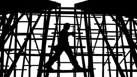 Gerüst Arbeiter Gegenlicht Homo Faber