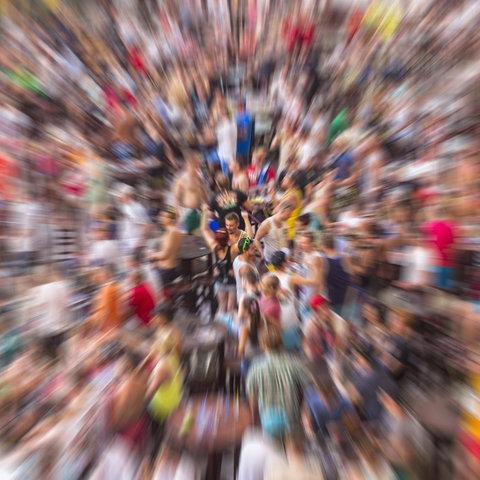 Menschenmasse Zoomeffekt