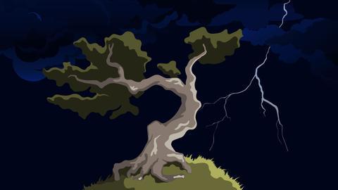 Grafik Baum im Gewittersturm