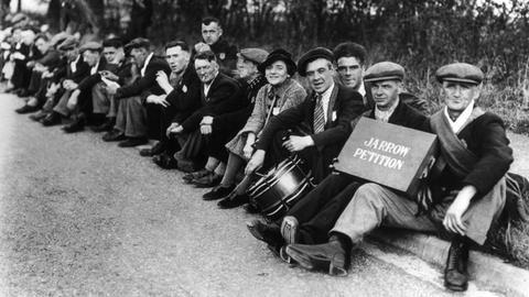 Teilnehmer eines Hungermarschs auf London 1936