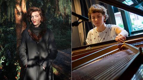 Collage: Eve Risser unter einem Baum und und Kaja Draksler am Piano.