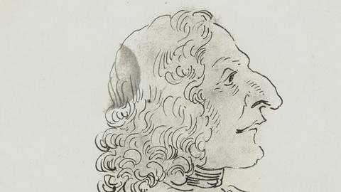 Antonio Vivaldi, Karikatur von Pier Leone Ghezzi, 1723