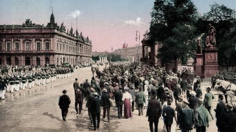 Berlin, Unter den Linden, Aufziehen der Wache, Postkarte von 1914