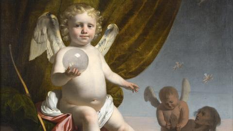 Caesar van Everdingen: Amor, eine Glaskugel haltend, um 1650