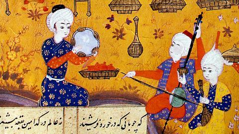 """Aserbaidschanische Buchmalerei aus dem 16. Jahrhundert zum Epos """"Chosrau und Schirin""""."""