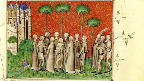 """Eine Buchmalerei in Machauts Verserzählung """"Le remède de fortune"""" (um 1350/1355). Dargestellt ist eine Tanzszene im Freien."""