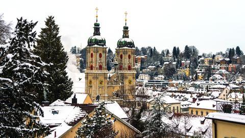 Die Kathedrale von St. Gallen im Schnee