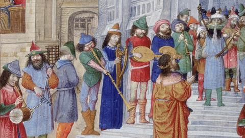 Ein  König mit seinen Musikern. Aus dem Brevier Isabellas der Katholischen, Königin von Kastilien, British Library