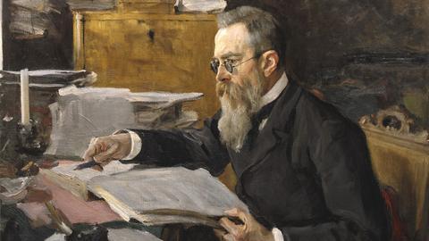 Nikolaj Rimskij-Korsakow, Porträt gemalt von Walentin Serow, 1898