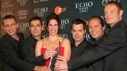 """Die Gruppe """"Singer Pur"""" mit Claudia Reinhard erhielt 2007 den """"Echo Klassik""""."""