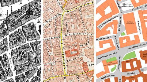 Der Frankfurter Kornmarkt, einst und jetzt