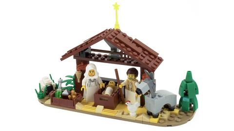 Heilige Familie und Krippe aus Lego-Figuren