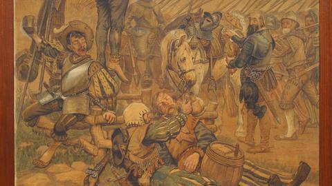 Eine Szene des Dreißigjährigen Krieges als zeitgenössische Malerei des Museums des Alte Bischofsburg in Wittstock (Ostprignitz-Ruppin), aufgenommen am 17.02.2011. Dietmar Pieper und Johannes Saltzwedel legen ihre Aufsatzsammlung «Der Dreißigjährige Krieg. Europa im Kampf um Glaube und Macht - 1618-1648» vor.