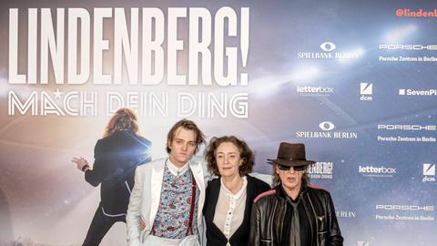Schauspieler Jan Bülow, Regisseurin Hermine Huntgeburth und Sänger Udo Lindenberg