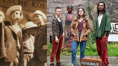 Collage: Studenten auf historischem Bild vor Kolonialschule und Student*innen heute vor Bronzestatue von Schulgründer Fabarius