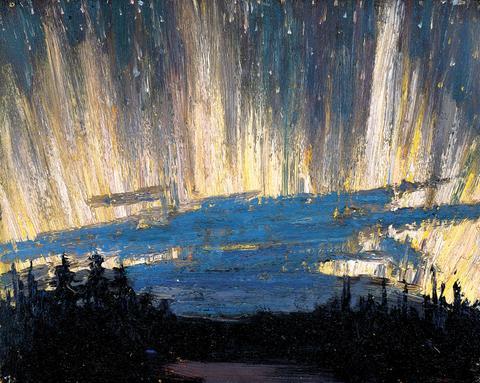 "Tom Thomson, Northern Lights, About 1916-1917, Öl auf Holz, The Montreal Museum of Fine Arts  - Ausstellung ""Magnetic North"" in der Kunsthalle Schirn"