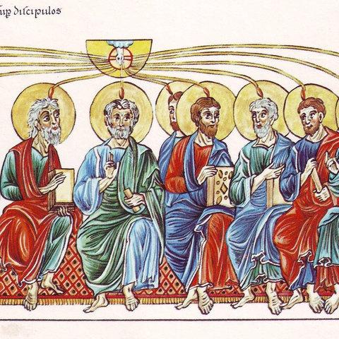 """Aussendung des Heiligen Geists auf die Apostel aus dem """"Hortus Deliciarum"""" der Herrad von Landsberg"""